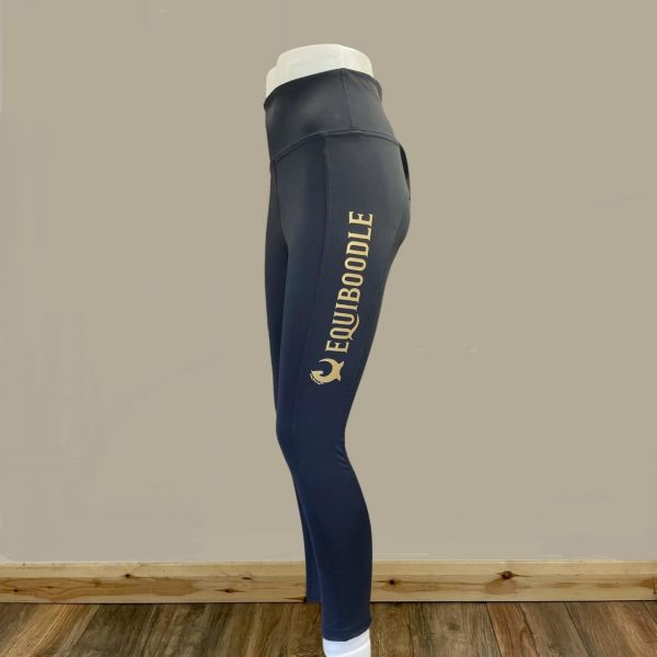 Equiboodle Training Tights Full Silicone Seat  - Black & Gold